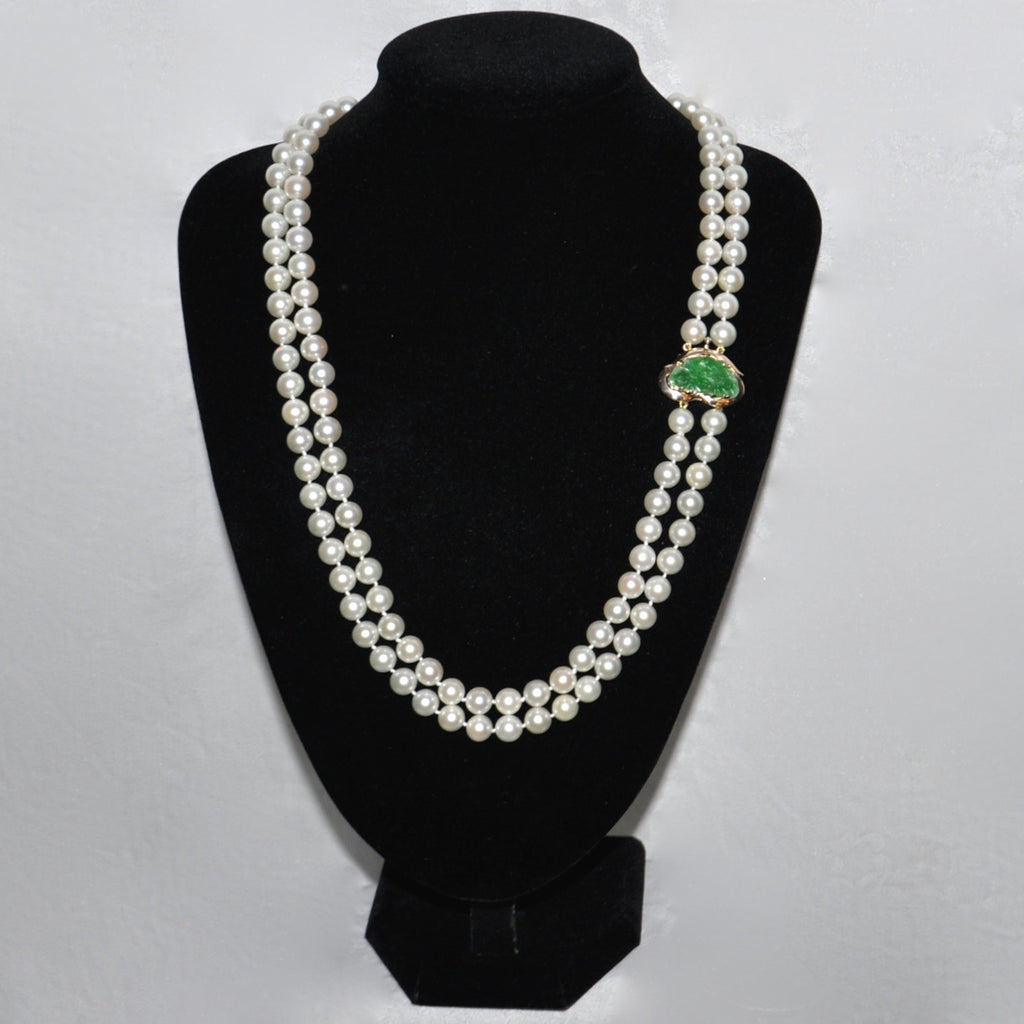 Double Strand Japanese Akoya Cultured Pearl Necklace & Jade Clasp   Westmount, Montreal, Quebec