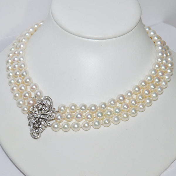 Three Strand Japanese Akoya Cultured Pearl Necklace with Diamond Clasp - Westmount, Montreal, Quebec - Daisy Exclusive