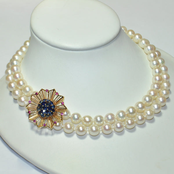 Double Strand Pearl Necklace With 14K White Gold Clasp - Westmount, Montreal, Quebec - Daisy Exclusive