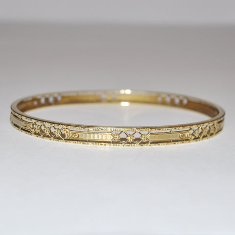 Antique Birks Oval Bangle with Open Work Floral Design