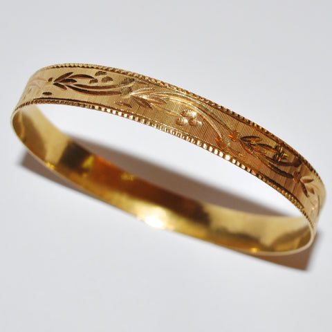 Antique Bangle with Engraved Floral Motif in 21k Yellow Gold