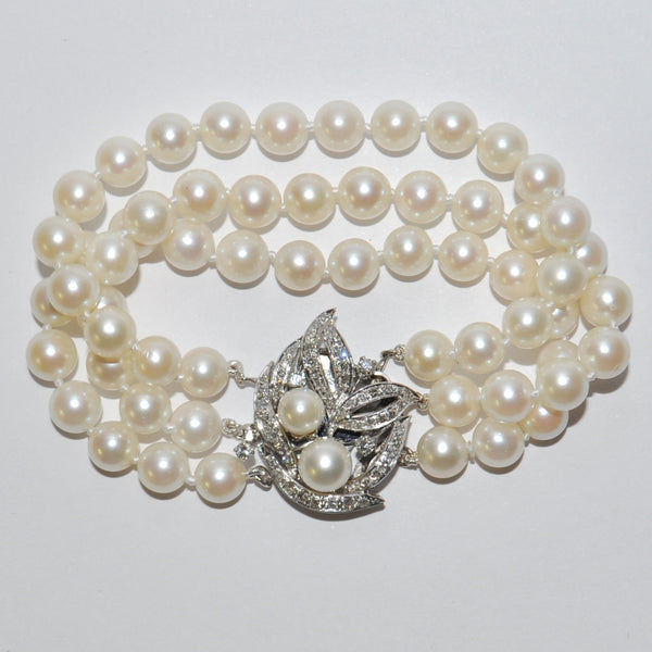 Vintage 3 Strand Japanese Akoya Cultured Pearl Bracelet With Diamond Clasp - Westmount, Montreal, Quebec