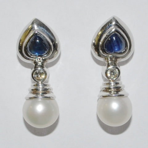 18K White Gold Sapphire, Diamond & Pearl Drop Earrings - Westmount, Montreal, Quebec