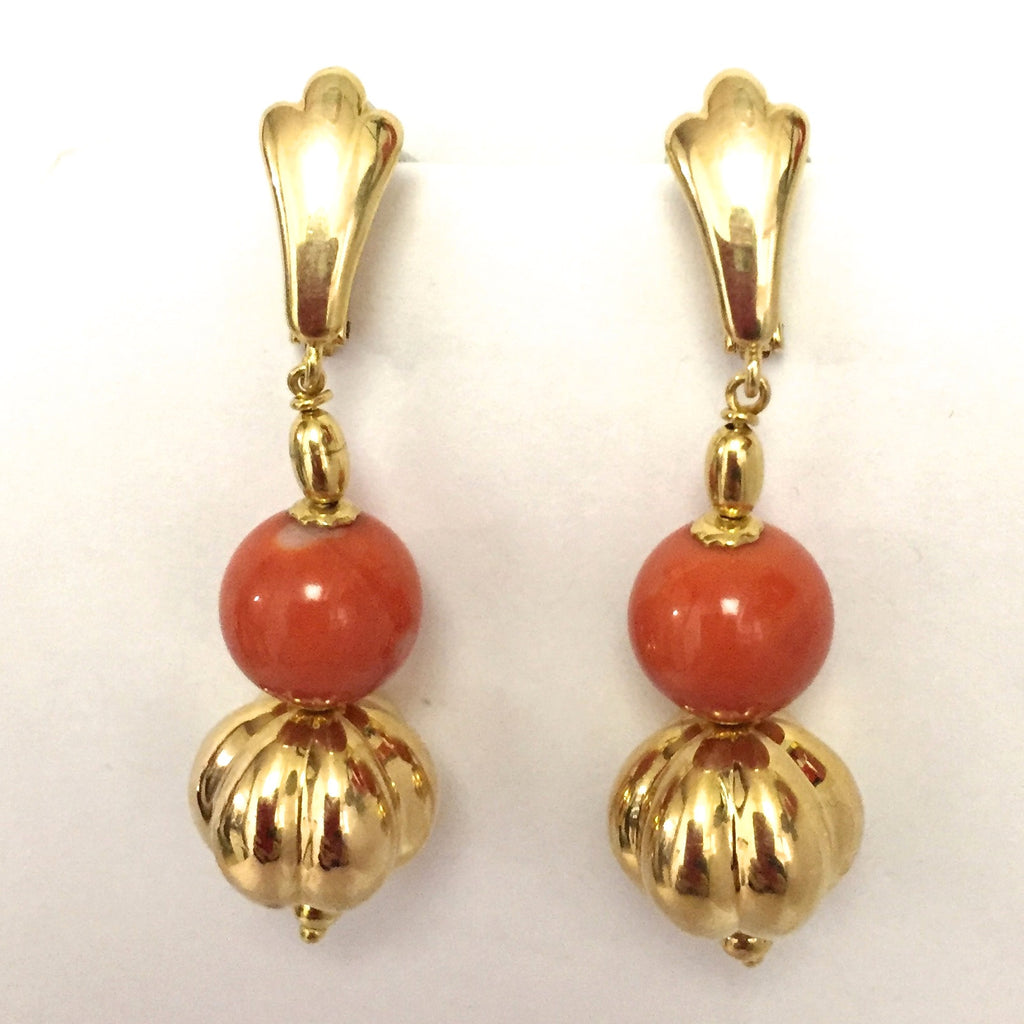 Vintage Coral Earrings 18K - Westmount, Montreal, Quebec