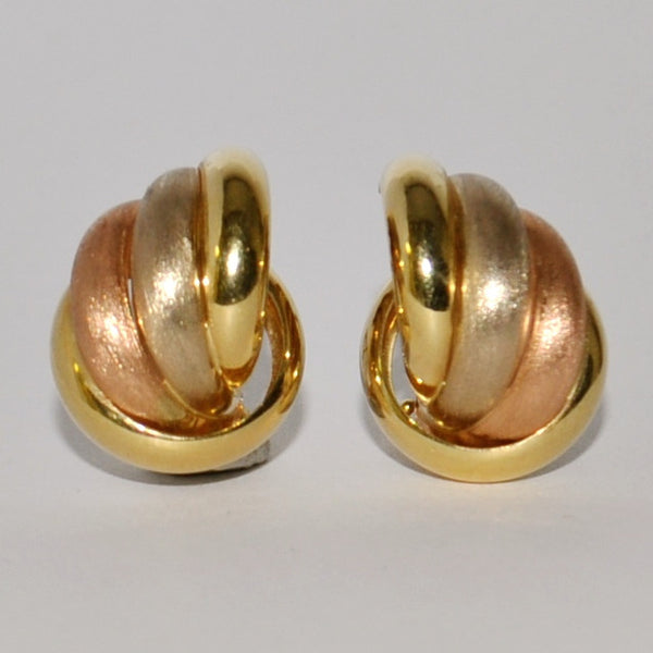 Vintage Tri-Colour 18K Gold Earrings - Westmount, Montreal, Quebec