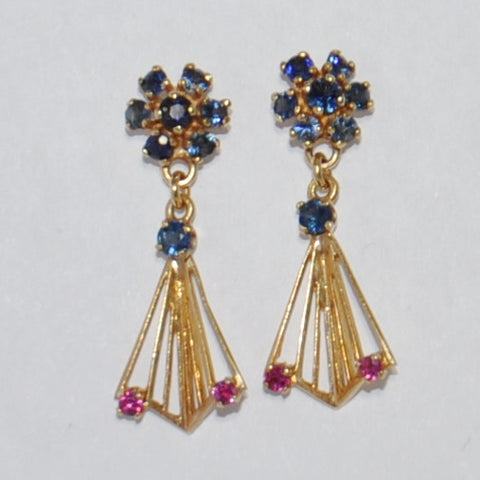 Vintage 14K Sapphire & Ruby Earrings - Westmount, Montreal, Quebec - Daisy Exclusive