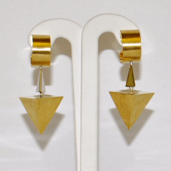 Retro Geometric Two Tone 18K Gold Earrings - Westmount, Montreal, Quebec - Daisy Exclusive