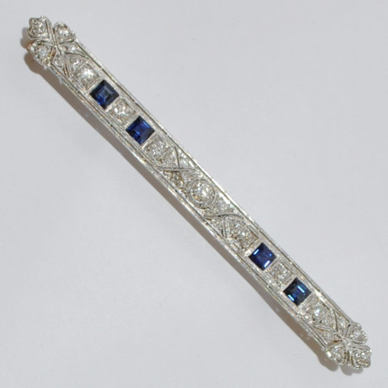 Antique Edwardian Diamond, Sapphire & Platinum Bar Pin