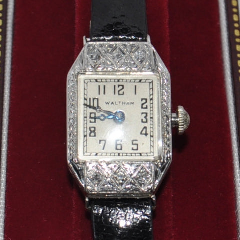 WALTHAM Ladies Diamond Art Deco Watch 18k