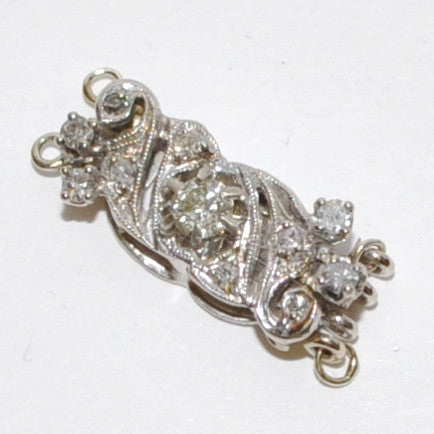 Vintage Diamond 2 Strand Clasp in 18k White Gold