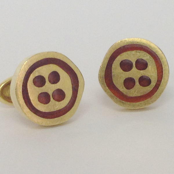 Modernist Walter SCHLUEP 18k Gold Button Cufflinks with Red Enamel