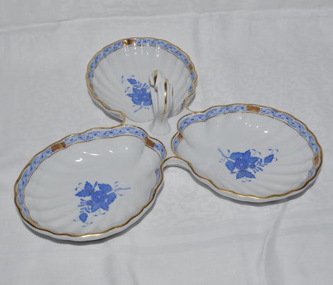 Herend Hungary Handpainted 3 Lobed Porcelain Dish Apponyi Blue