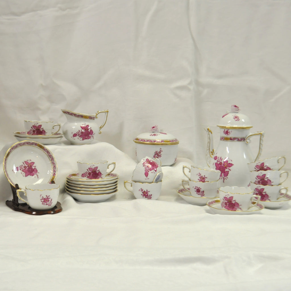 Herend Hungary Handpainted Porcelain Apponyi Purple Tea Set