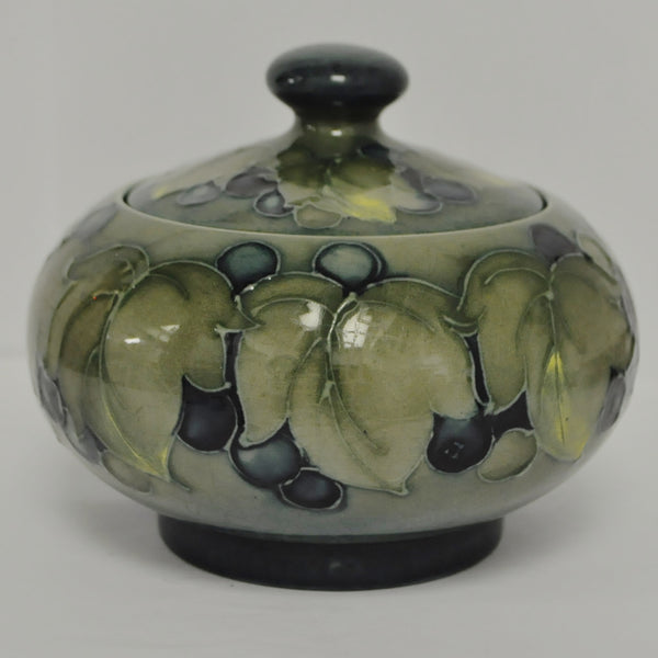 Rare William Moorcroft Covered Dish in Green Grape & Vine Leaf pattern c.1928