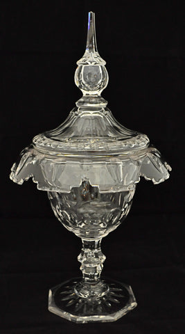19th Century Crystal Covered compote