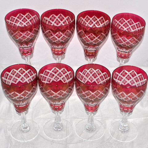 Set of 8 Handmade Crystal Flash Cranberry Wine Glasses