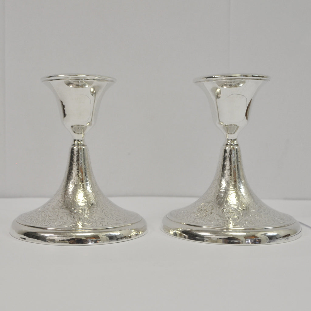 Charles S. Green & Co. Vintage Sterling Silver Candlesticks - Westmount, Montreal - Daisy Exclusive