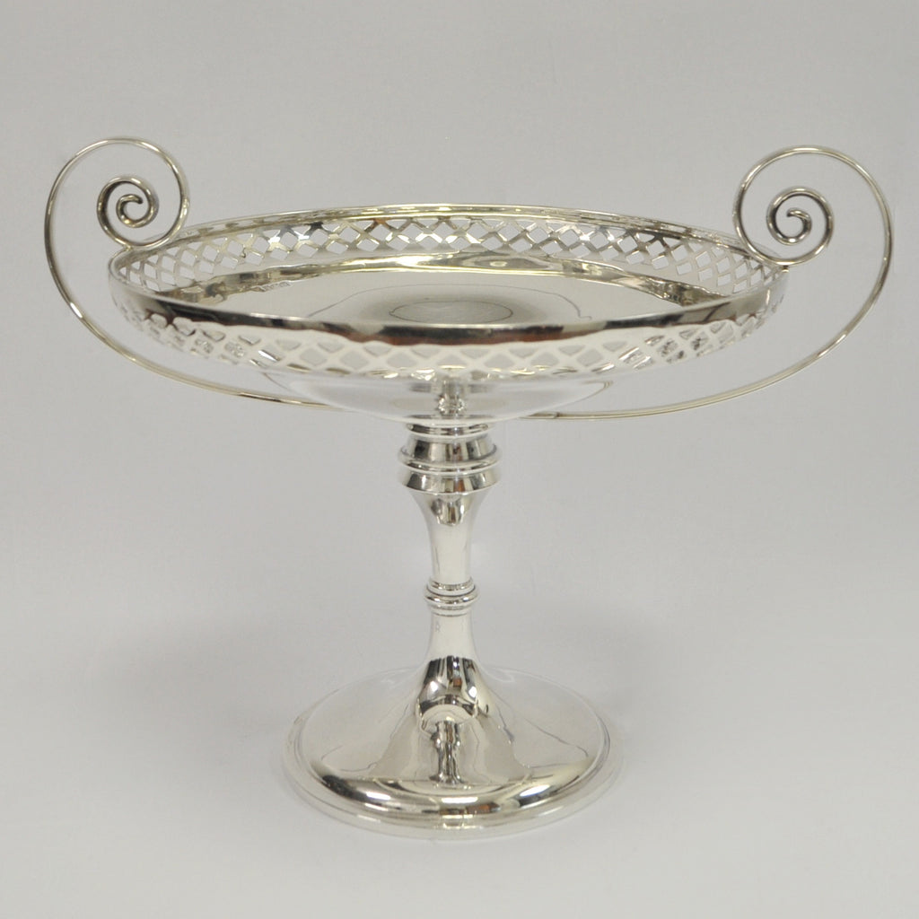Sheffield Sterling Silver Compote with Curly Handles - Westmount, Montreal - Daisy Exclusive