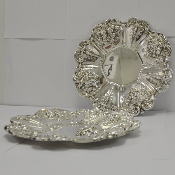 Pair of French Sterling Silver Reed & Barton Frances 1st Plates - Westmount, Montreal - Daisy Exclusive