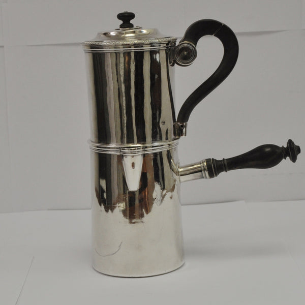 Café au Lait Pot or Hot Chocolate Percolator in .950 Silver c.1809-1819 - Westmount, Montreal - Daisy Exclusive