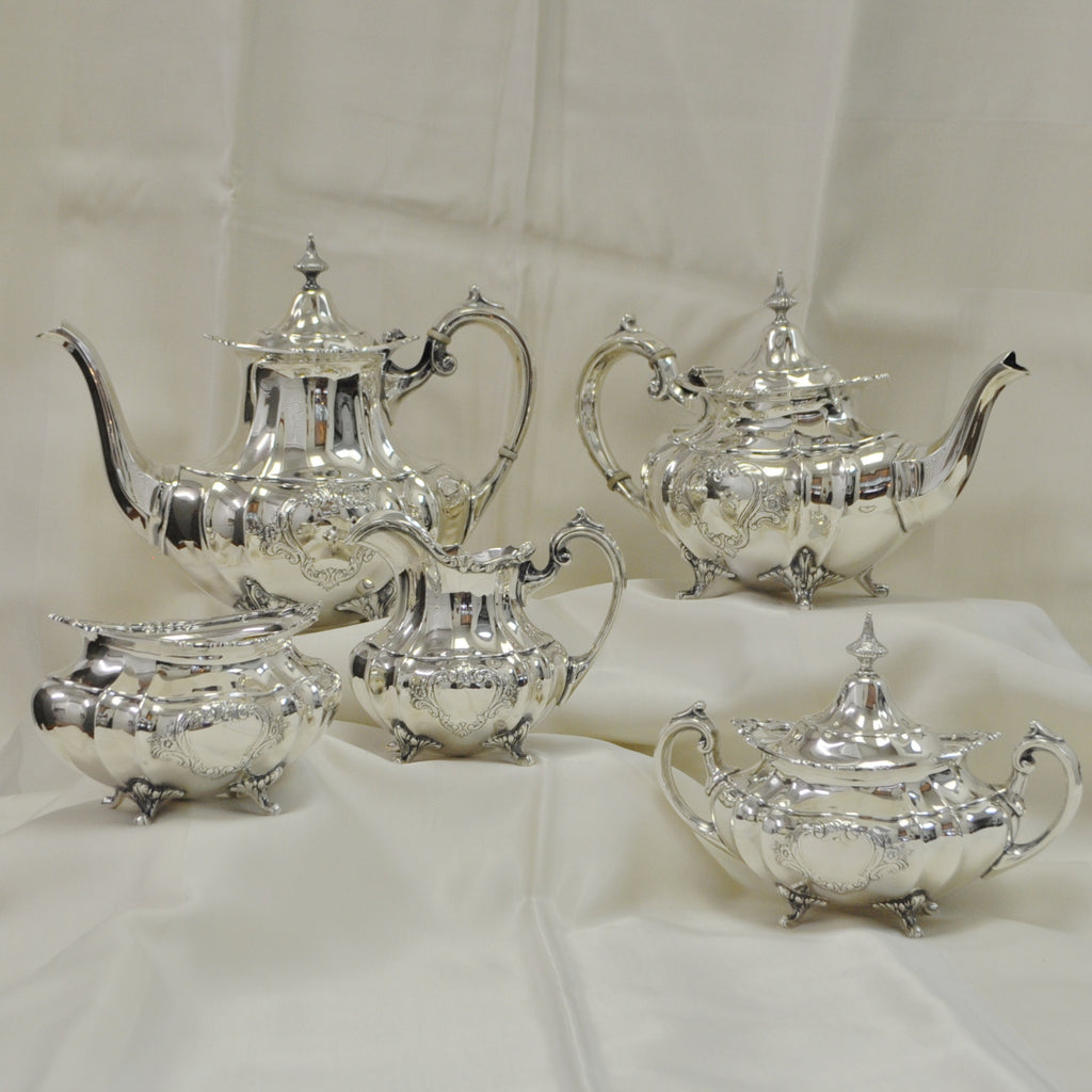 Reed & Barton Sterling Silver 5 piece Tea Set c.1953 - Westmount, Montreal - Daisy Exclusive