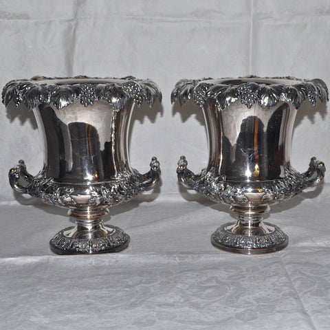 19th Century Pair of Antique Sheffield Silver Plated Wine Coolers - Westmount, Montreal - Daisy Exclusive