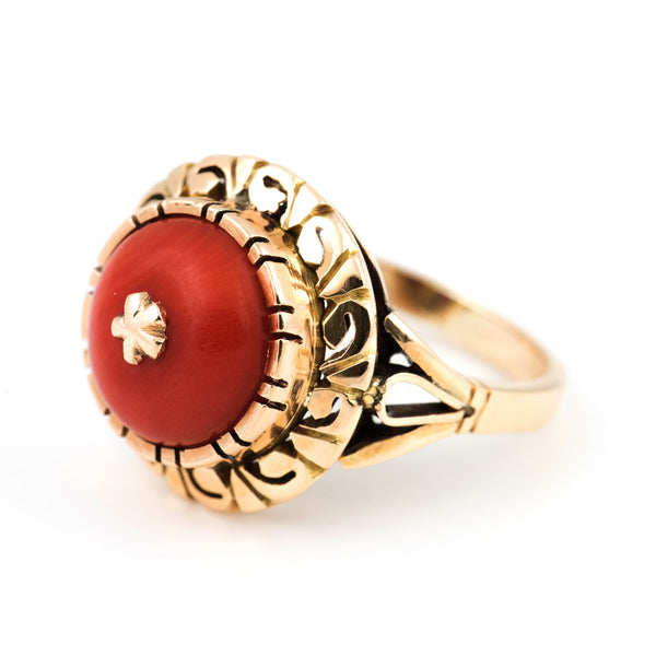 Antique Red Coral Ring - Jewelry Montreal