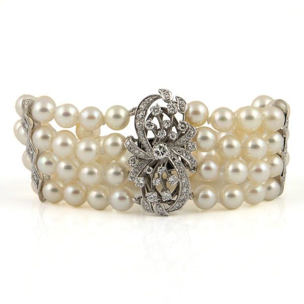 Japanese Cultured Pearl and Diamond Bracelet 14k - Westmount, Montreal