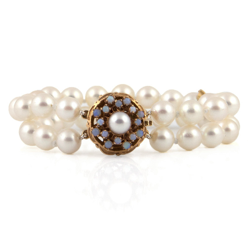 Akoya Pearl Two Strand Bracelet with Opal & Pearl Clasp - Westmount, Montreal
