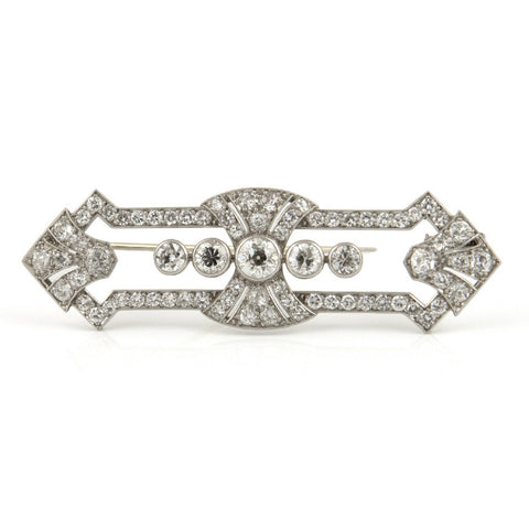 Art Deco Diamond Brooch in Platinum - Westmount, Montreal, Quebec