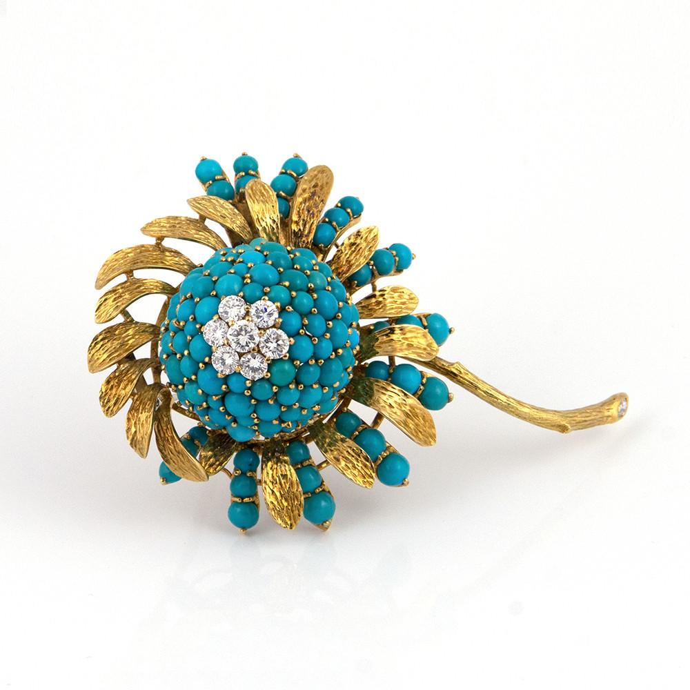 Vintage Turquoise and Diamond Flower Brooch - Westmount, Montreal