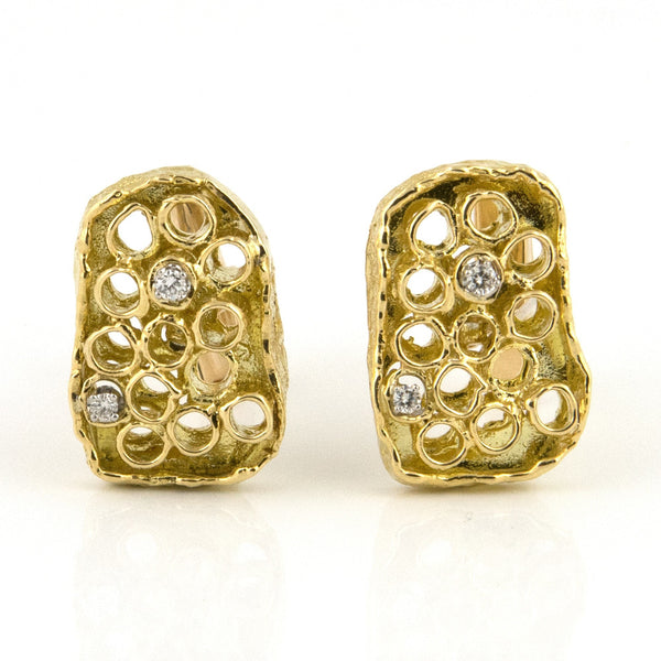 Retro Honeycomb Gold and diamond Cufflinks - Westmount, Montreal