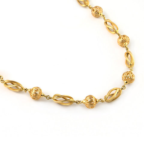 Mid Century European Round and Oval Gold Link Necklace - Westmount, Montreal