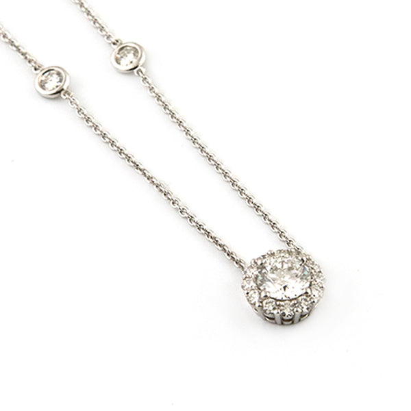 Diamond Station Necklace with Diamond Halo Pendant - Westmount, Montreal