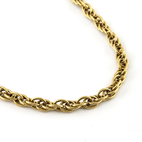 Antique Gold Chain Necklace with Textured Links - Westmount, Montreal