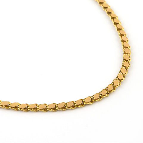 Antique Gold Link Necklace with Flat Oval Links - Westmount, Montreal