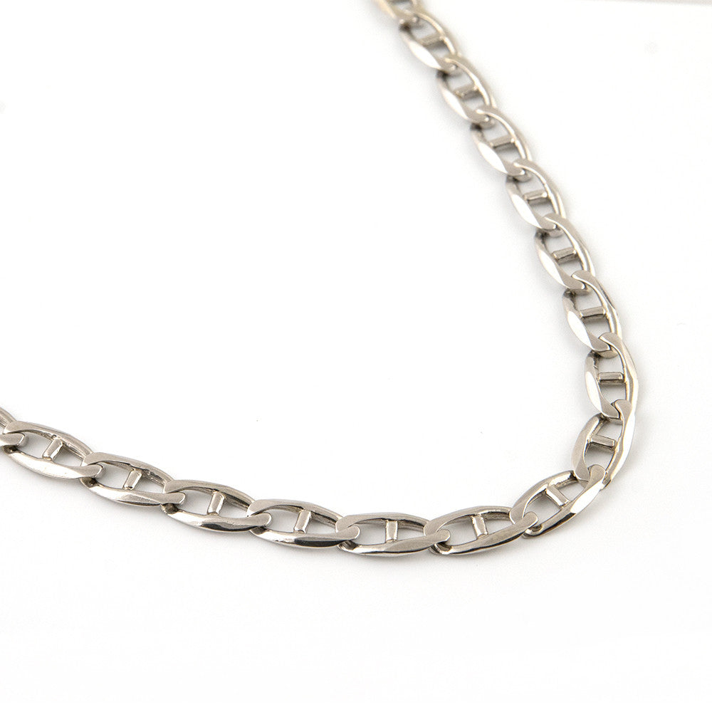 Vintage White Gold Marina Link Necklace - 21