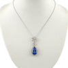 Antique Diamond Platinum Pendant with New Tanzanite