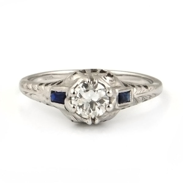 Edwardian Diamond & Sapphire Solitaire Ring in 18k White Gold - Westmount, Montreal