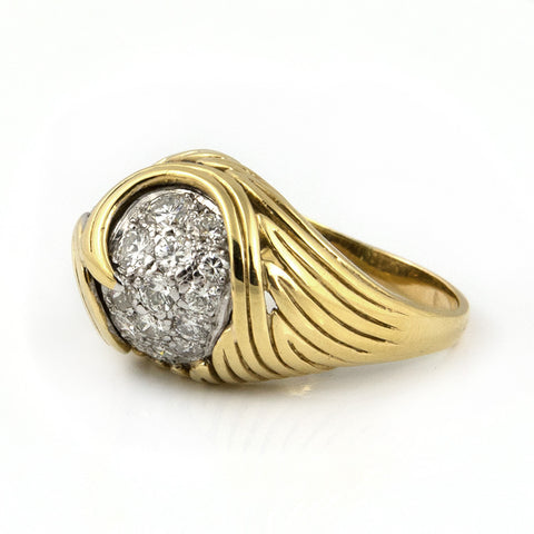 Pavé Diamond Ring in 18k Yellow & White Gold - Westmount, Montreal