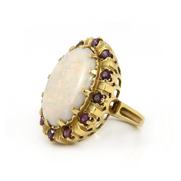 Vintage White Opal & Pink Ruby Ring in 18k Yellow Gold - Westmount. Montreal