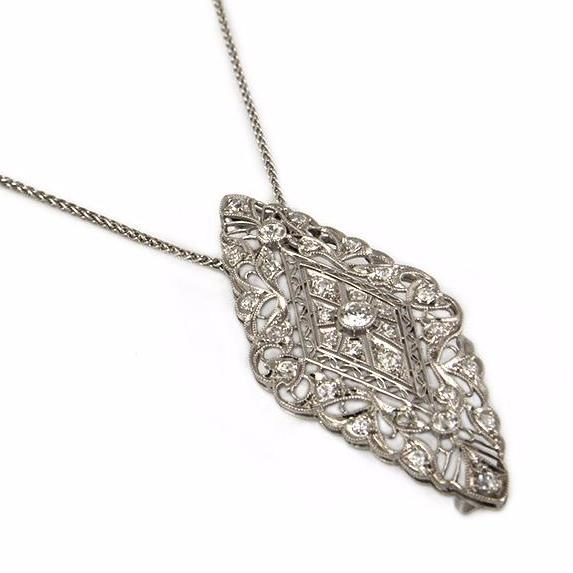 Antique Lozenge Diamond Pendant C. 1900-1915 - Montreal Estate Jewellers