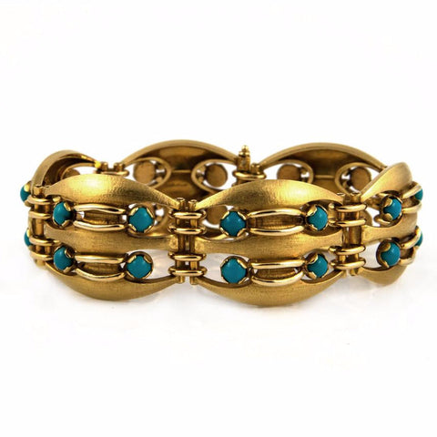 DELRUE Retro Turquoise and 18k Gold Link - Westmount, Montreal