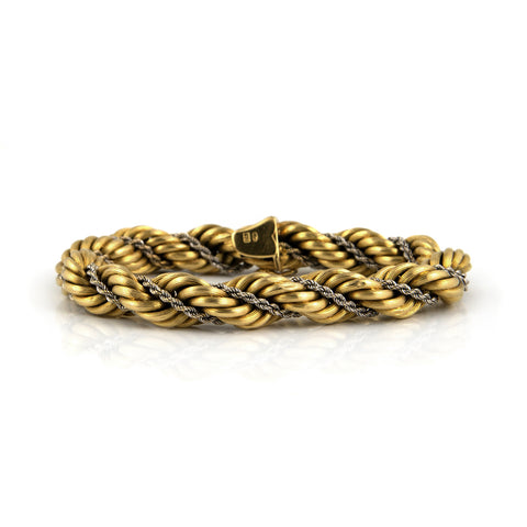 Vintage Double Rope Chain Bracelet in 18k White & Yellow Gold - Westmount, Montreal