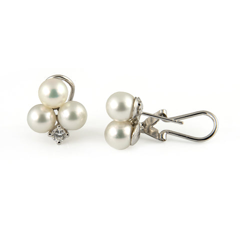 Japanese Akoya Cultured Pearl & Diamond Earrings - Westmount, Montreal, Quebec