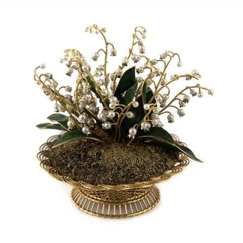 18k Gold Basket with Lilies of the Valley - goldsmith montreal