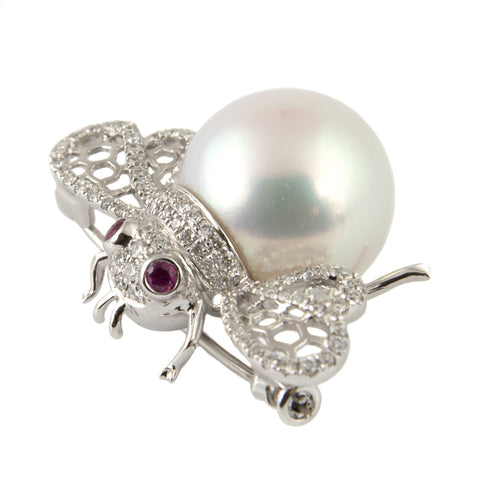 White South Sea Pearl, Ruby & Diamond Bumble Bee Brooch - Westmount, Montreal, Quebec