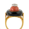 Coral, Onyx and Diamond Ring circa 1960 - Montreal Jewellery