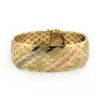 Italian Three colour 18k Gold Flexible Cuff Bracelet - Daisy Exclusive Estate Jewellers Montreal