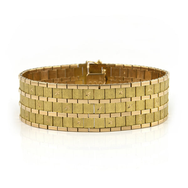 Italian 18k Gold Flexible Cuff Bracelet - Daisy Exclusive Estate Jewellers Montreal